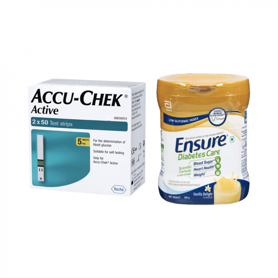Diabetes Care Combo of Accu-Chek Active 100 Test Strip and Ensure Diabetes Care 400gm Powder