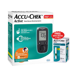 Accu-Chek Active Blood Glucometer Kit (Box of 10 Test strips Free)