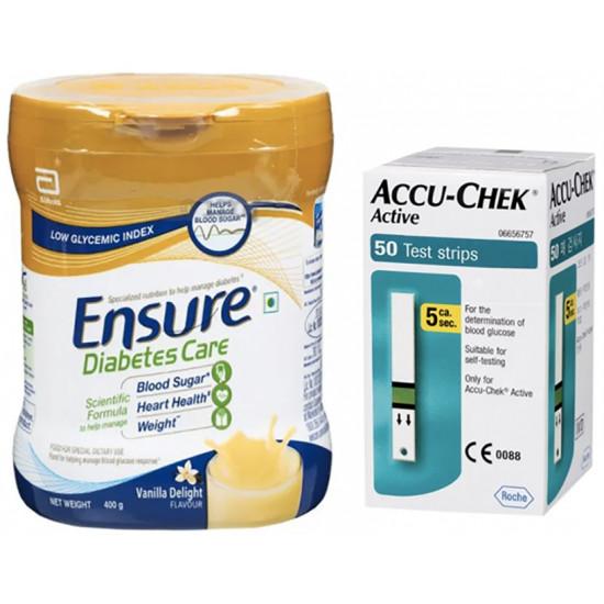 Diabetes Care Combo Pack of Accu-Chek Active 50 Test Strip & Ensure Diabetes Care 400gm Powder