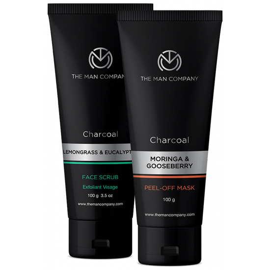 The Man Company Combo Pack of Charcoal Face Scrub & Charcoal Peel-Off Mask (100gm Each)